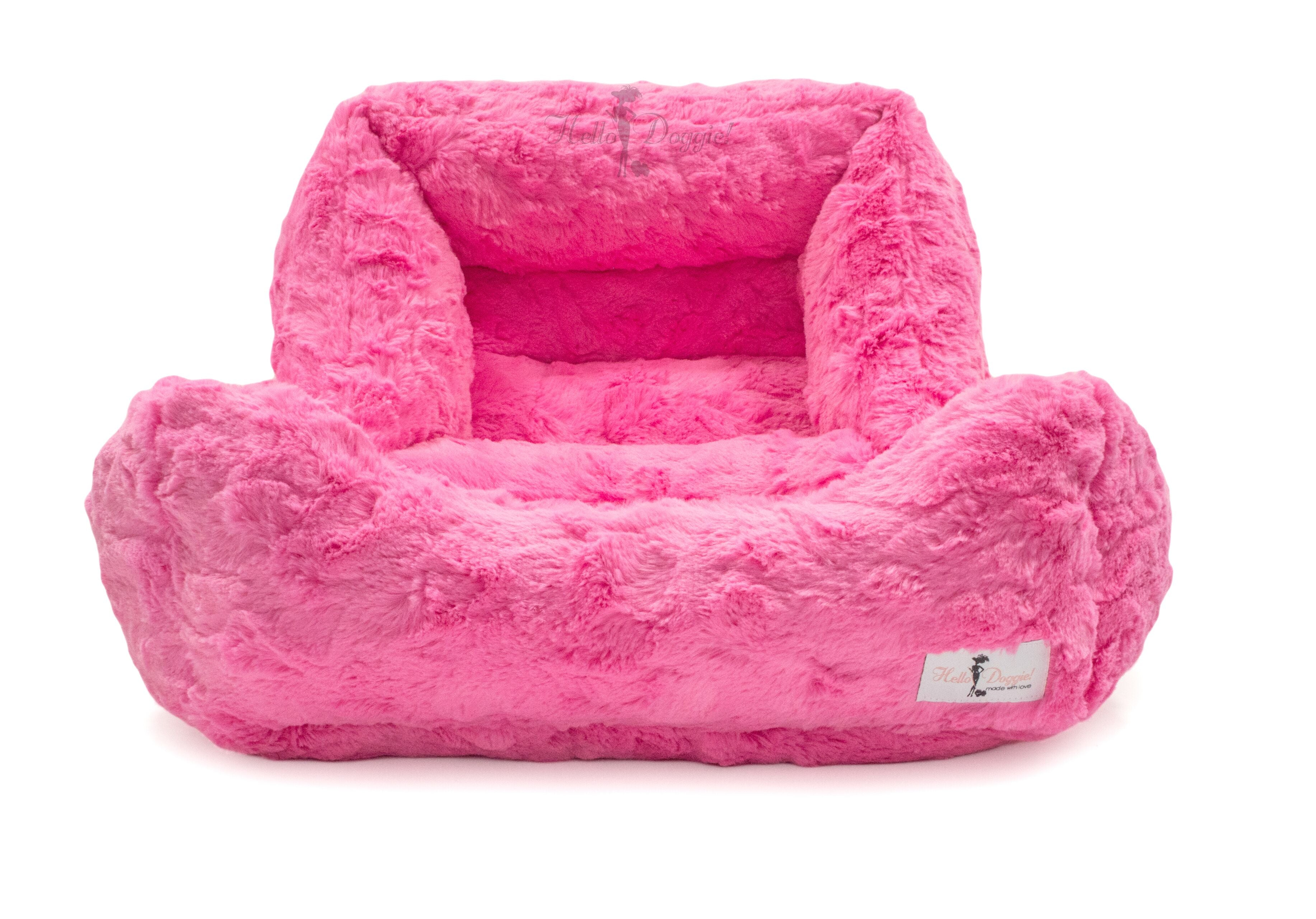 luxury soft dog bed fuchsia color