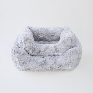luxury soft dog bed silver color