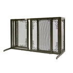 wooden dog gate with metal mesh screen