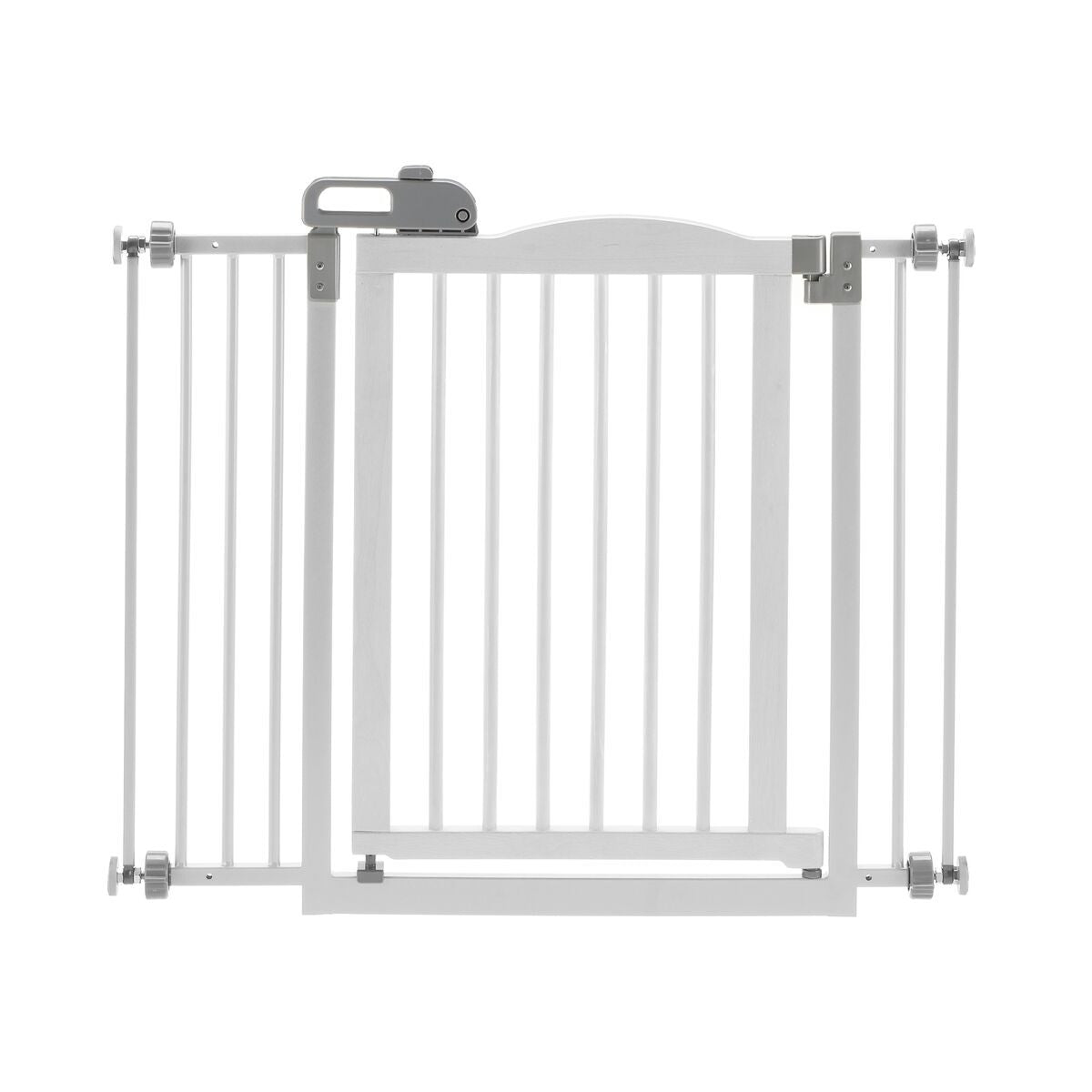 pressure mounted dog gate with door, white