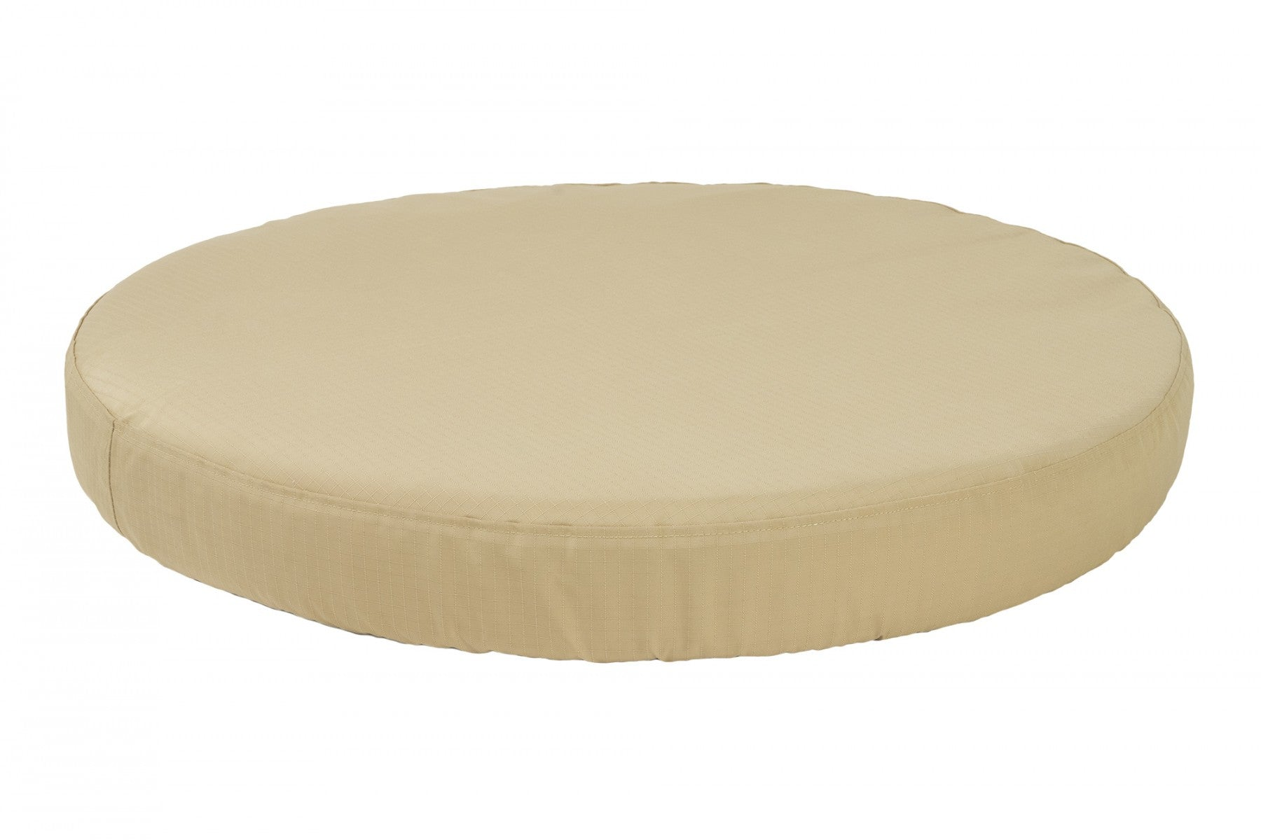 chew-resistant orthopedic round dog bed tan