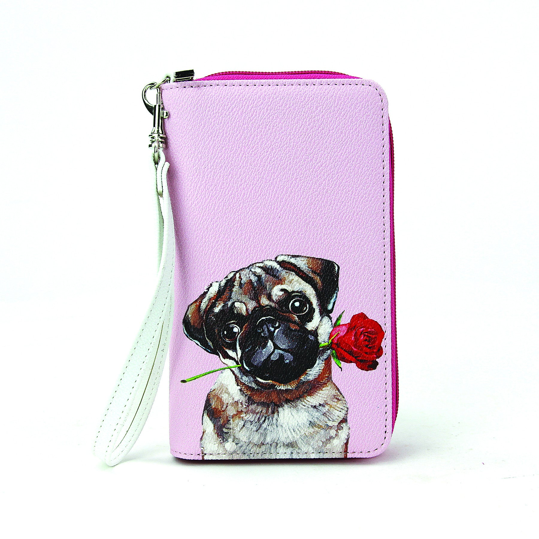 pug with rose wallet