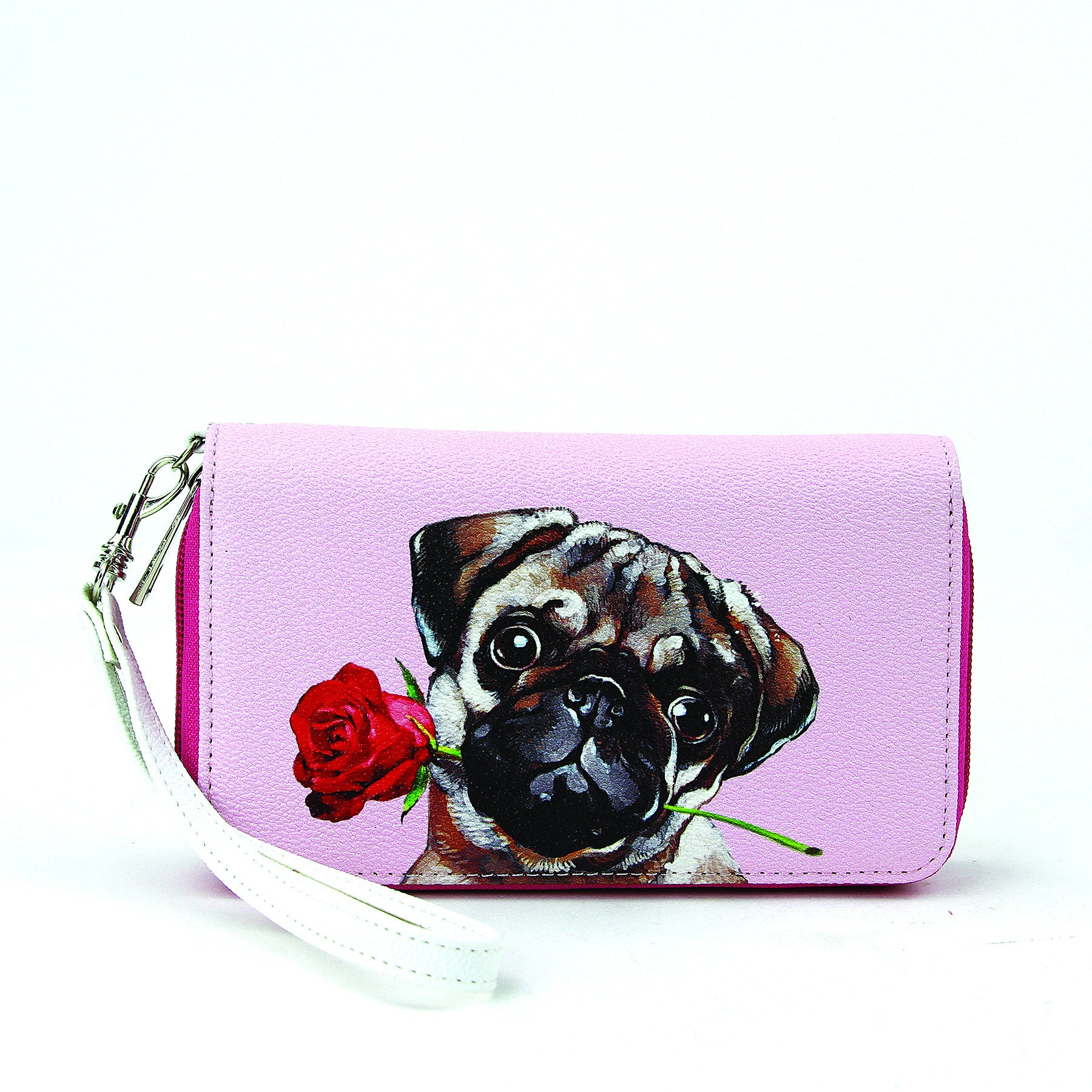 Pug with rose in mouth wallet