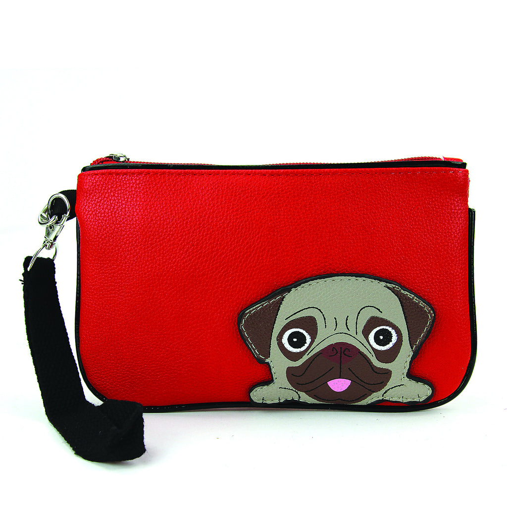 red pug dog wristlet wallet