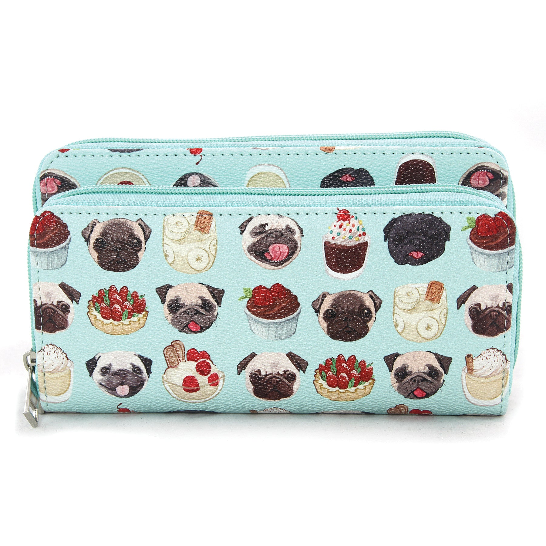 pug dog zip around wallet
