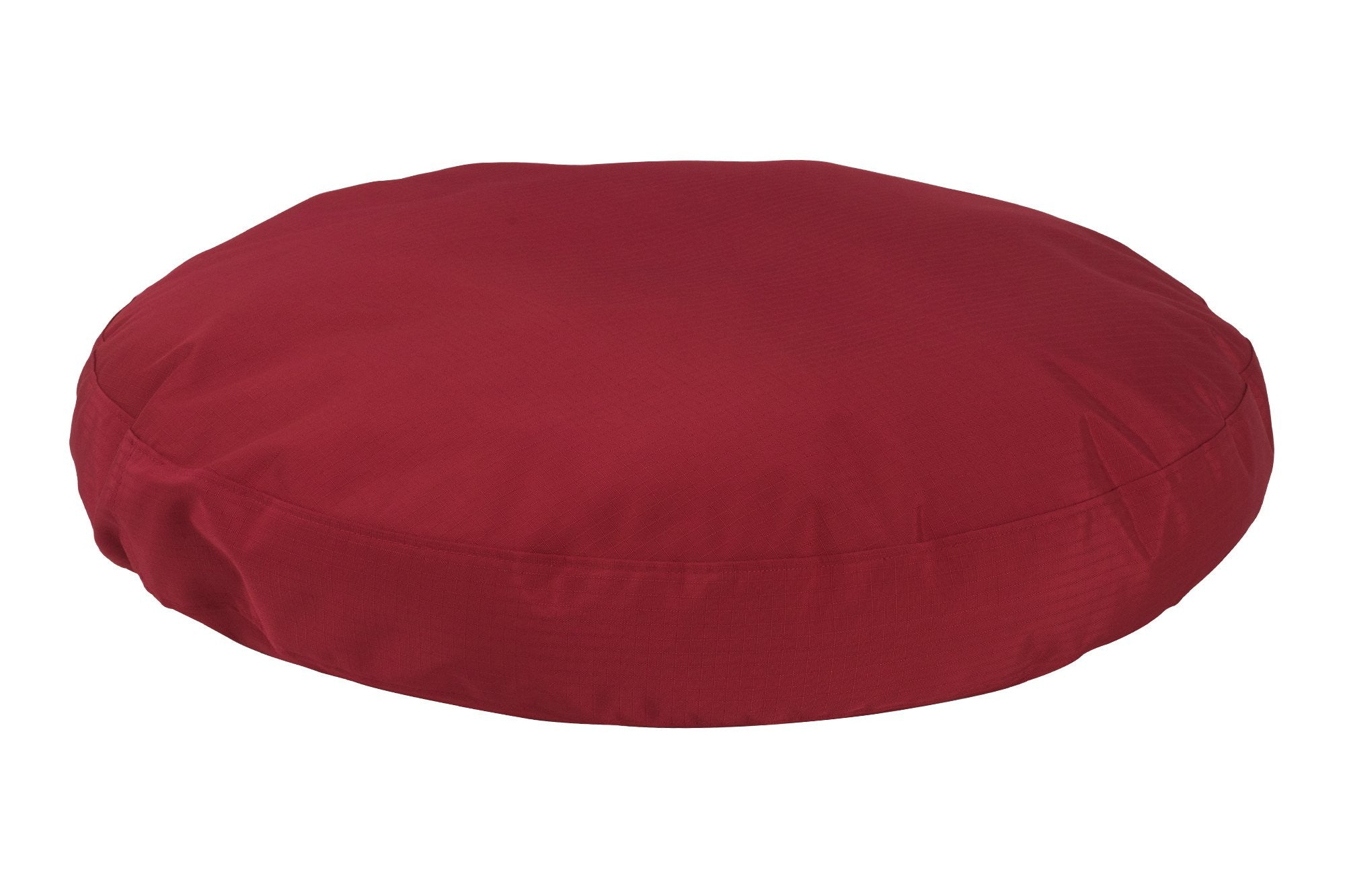 chew-resistant round dog bed red