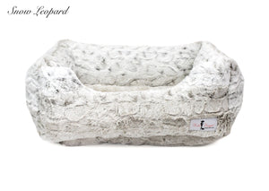 High quality snow leopard print dog bed