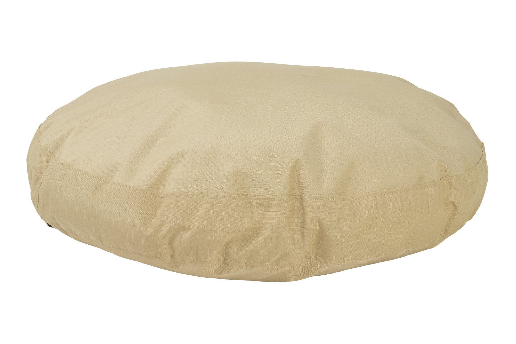 chew-resistant round dog bed tan