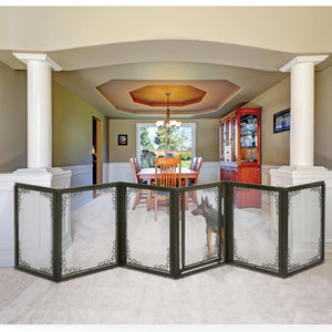 hardwood dog gate with mesh panels