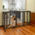 wooden metal mesh dog gate