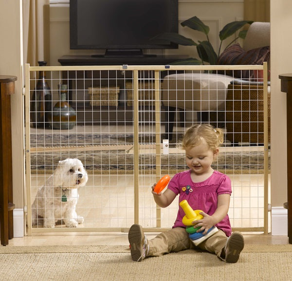 Tall and wide wire mesh pressure mounted dog gate