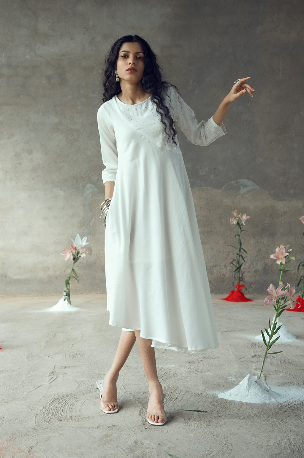 SUPRIYA WHITE UMBRELLA DRESS