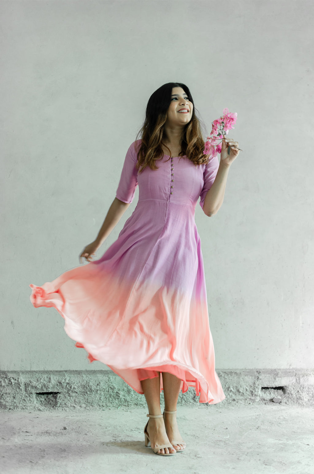 Purple and Baby Pink Fit and Flare Dress