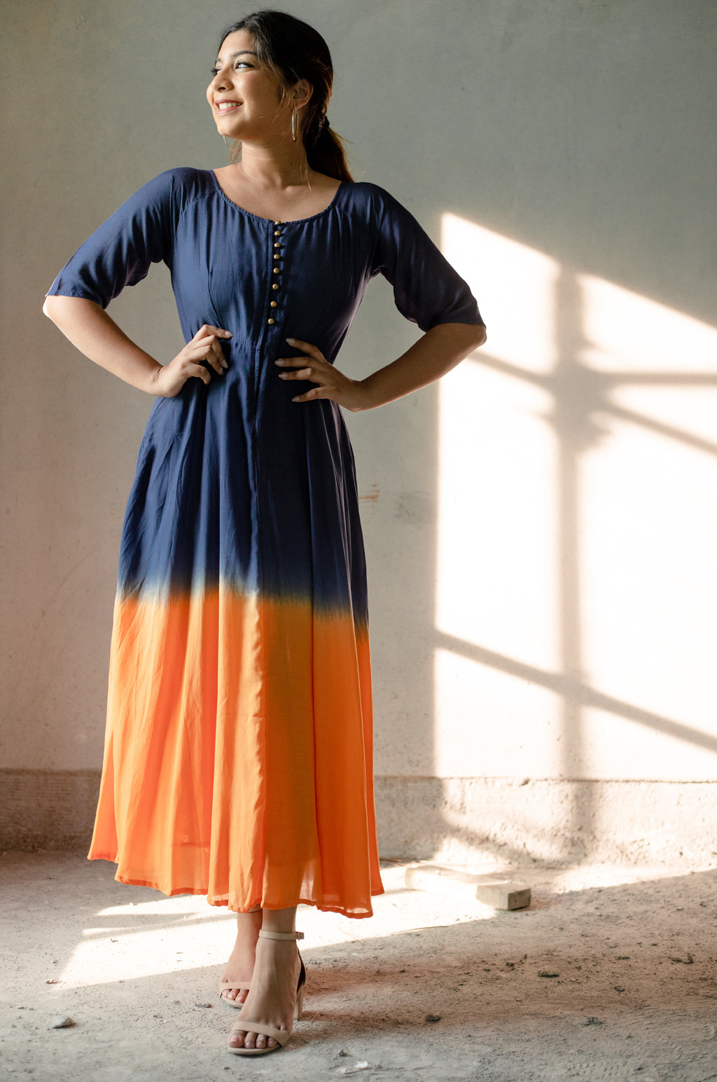 Indigo and Orange Fit and Flare Dress