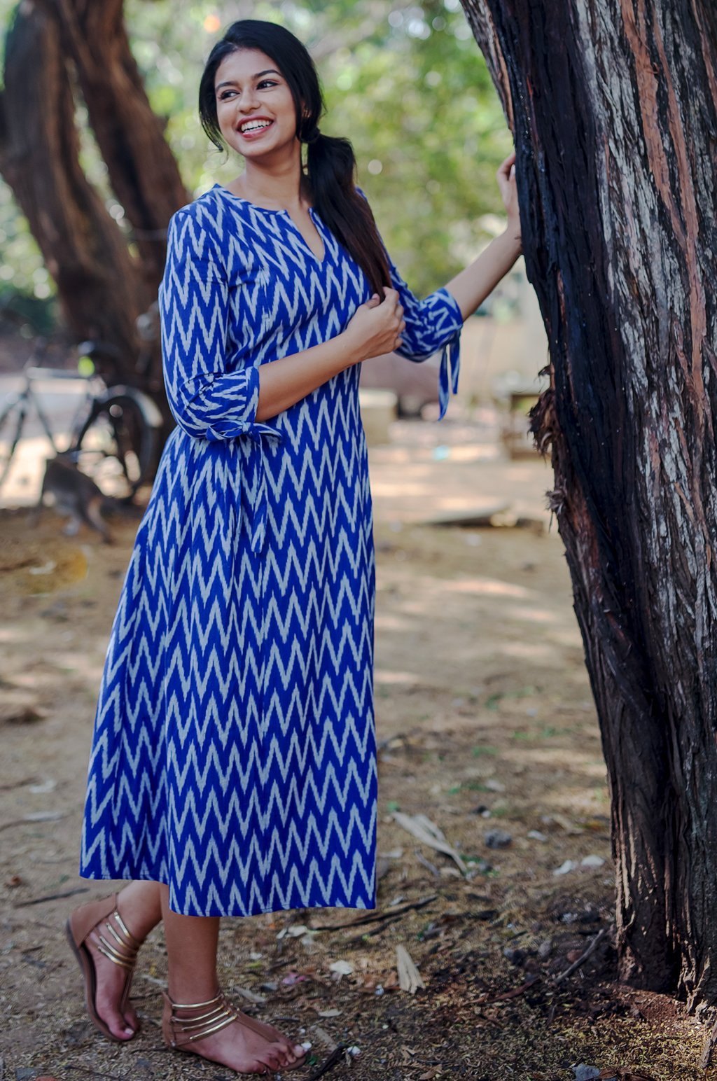 BLUE IKAT PLEATS DRESS