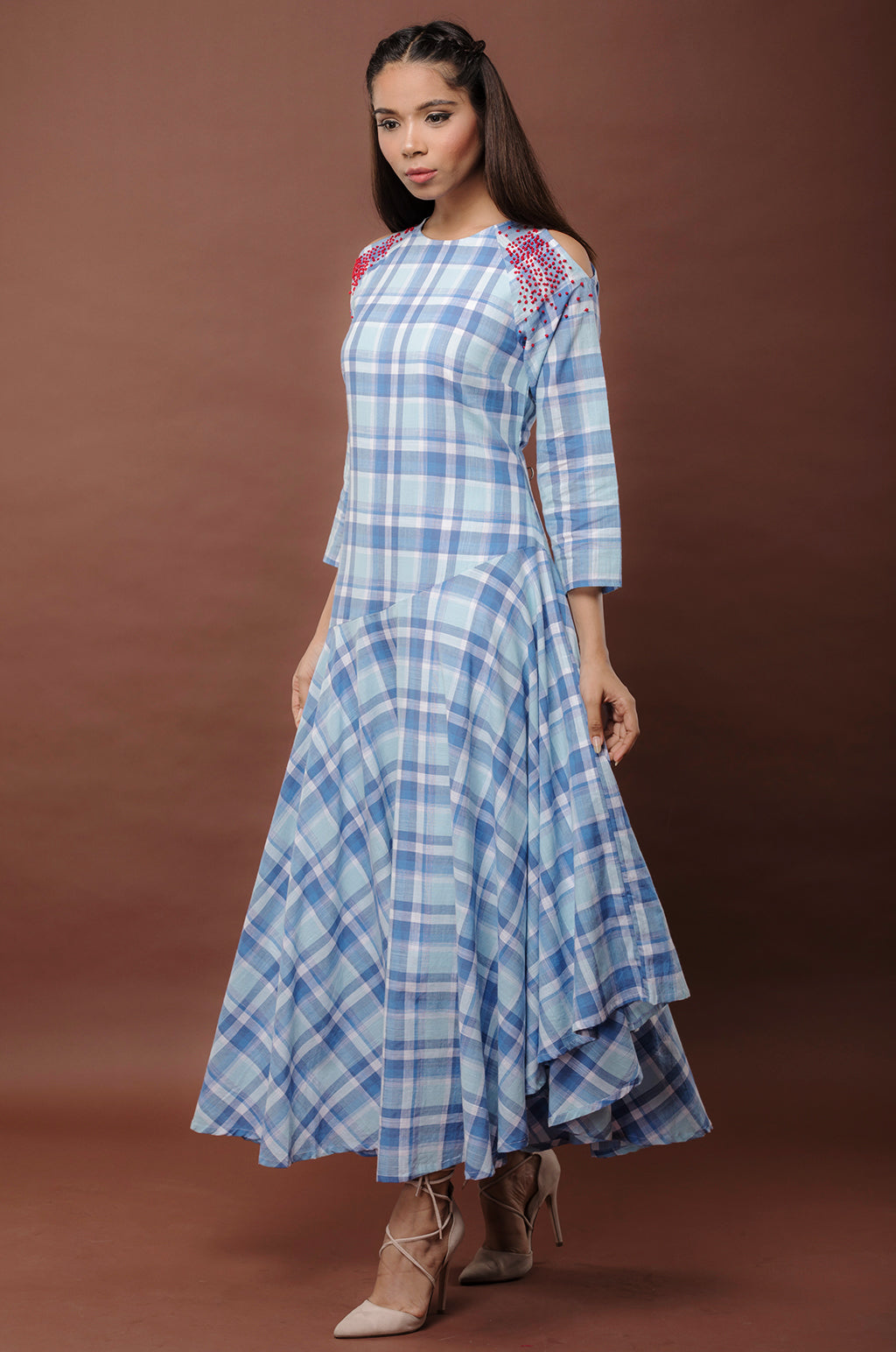 Woven checks cold shoulder long maxi dress fashion hand embroidery french knot online shopping buy at best discount price cash on delivery COD available in India. International shipping. handmade by local artisans. fashion formal dress. designer wear. occasion wear. fashion trends 2018 blue checks asymmetrical hemline flowy dress midi dress free shipping tredy range of casual dresses in various sizes plus sizes