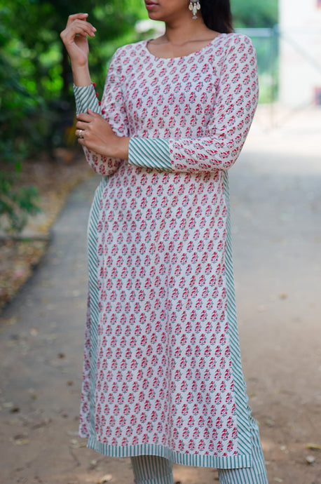 Buy Shop Block print hand print handmade floral high slit straight kurta online india at best price. COD / cash on delivery available. discounts. international shipping. kurti.  full sleeve. shopping women's clothing work wear office wear casual wear indian ethnic dress rivaaj bunaai the loom tokri dhora ajio the secret label