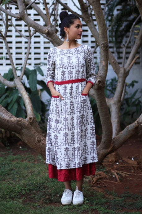 Maroon Ruffled Cotton Jute Dress