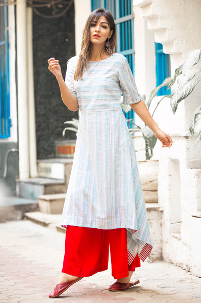 STRIPED ASYMMETRICAL DRESS