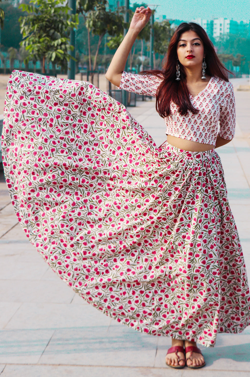 HAND BLOCK PRINT COTTON SKIRT