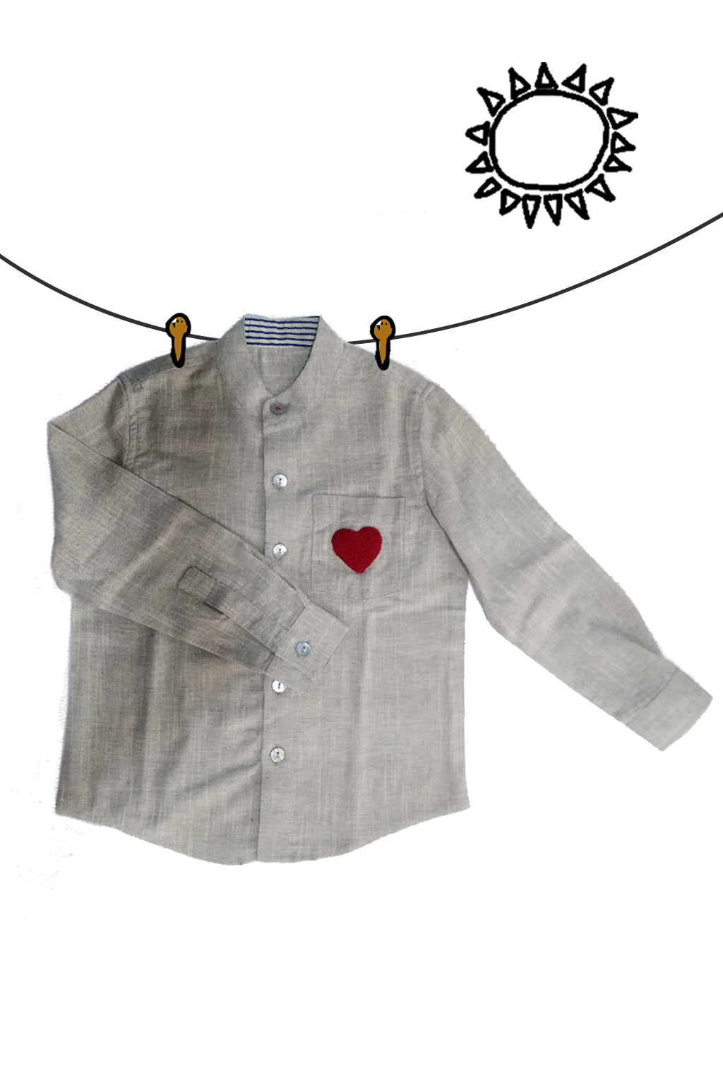 Heart Embroidery Shirt(Boys)