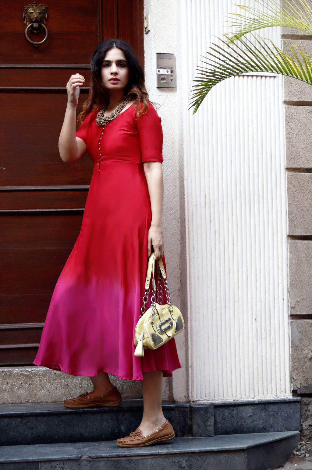 RED & PINK FIT-FLARED DRESS