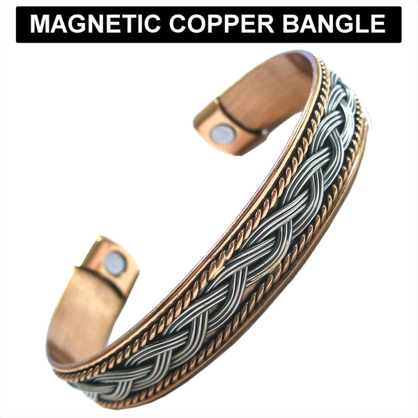Copper and Rhodium Colour Magnetic Cuff Bangle 1.2cm
