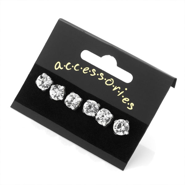 Three Pairs Silver Colour Crystal Stud Earrings 8mm