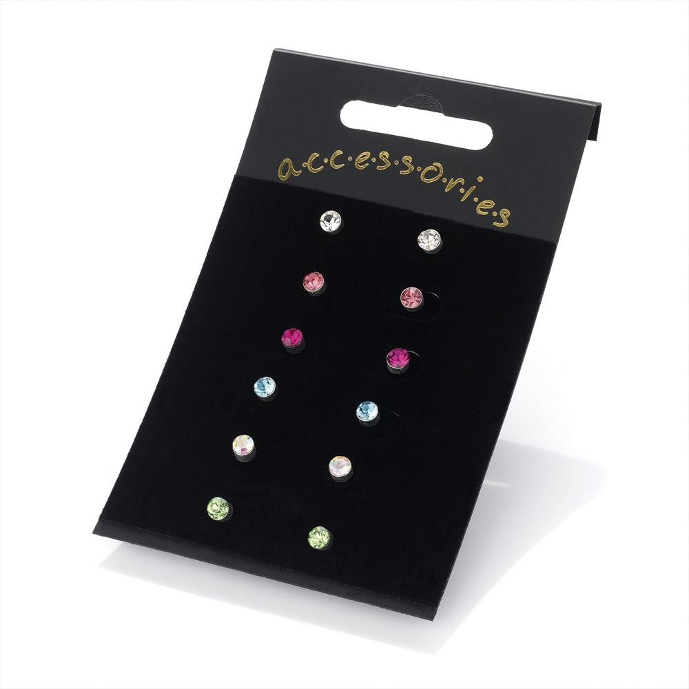 Six Pairs Assorted Colour Stud Earrings 4mm