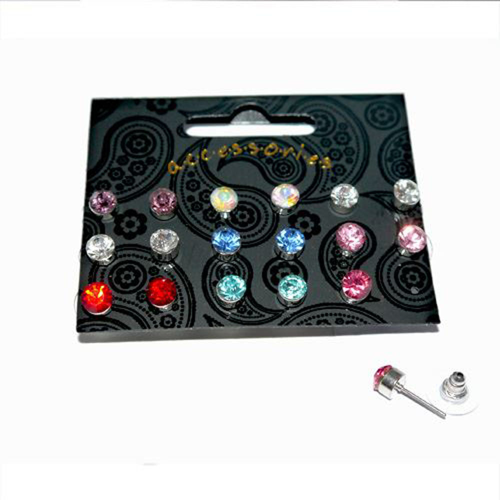 Nine Pairs Assorted Colour Crystal Stud Earrings 6mm