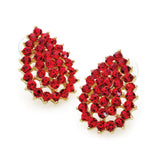 Gold Colour Red Crystal Tear Drop Design 3cm Drop Earring 3cm