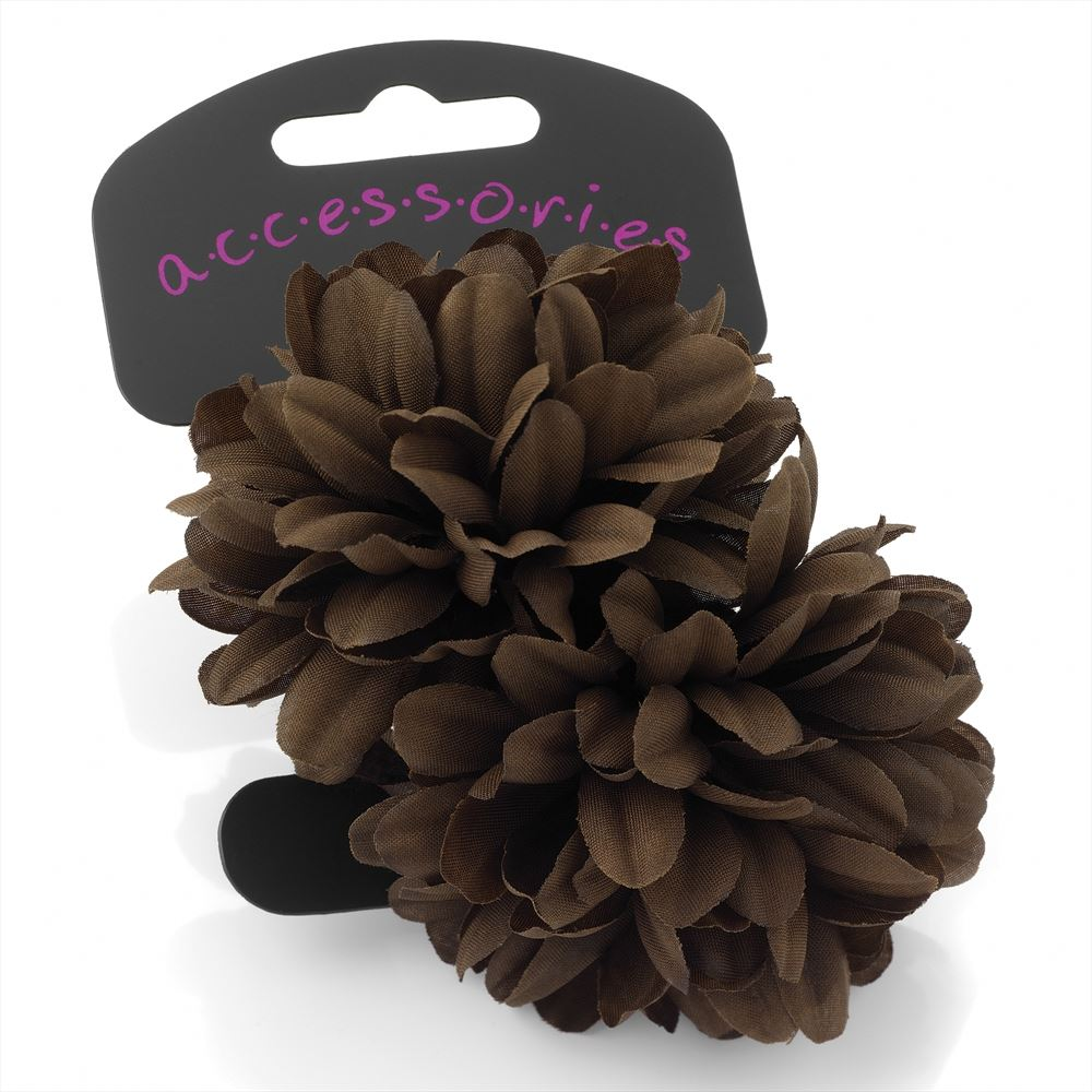 Two Piece Flower Hair Ponio Set - Brown 6.5cm