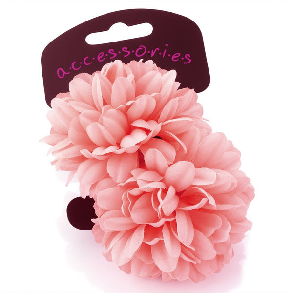 Two Piece Flower Hair Ponio Set - Pink 6.5cm