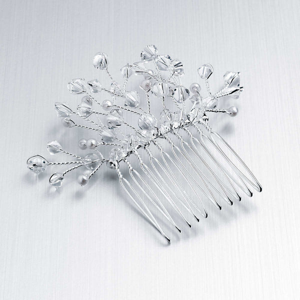 Elegant Crystal & Pearl Spray Design Metal Hair Comb 3.5cm