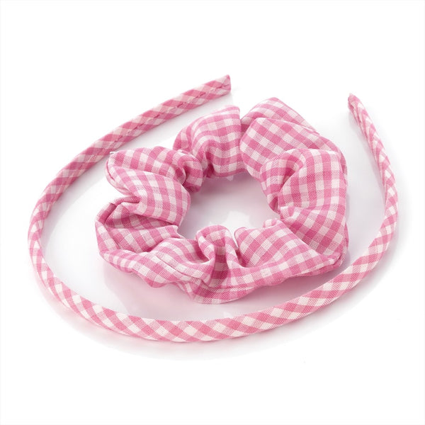 Two Piece Gingham Headband & Scrunchie Set - Pink 1cm Alice Band & 3.5cm Scrunchie