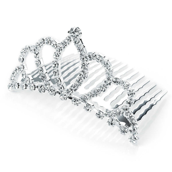 Silver Colour Crystal Diamante Hair Comb Tiara 6cm x 3cm