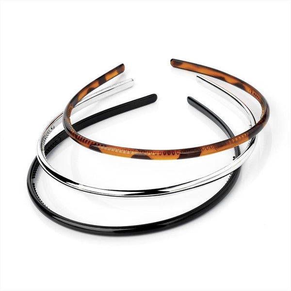 Three Piece Headband Set - Black, Brown & Silver 6mm