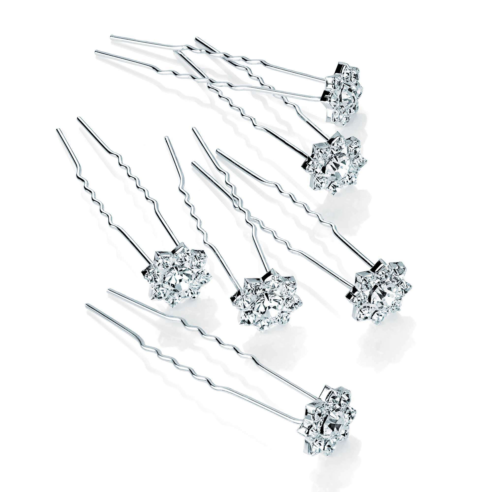 Six Piece Silver Colour Crystal Metal Hair Pin Set