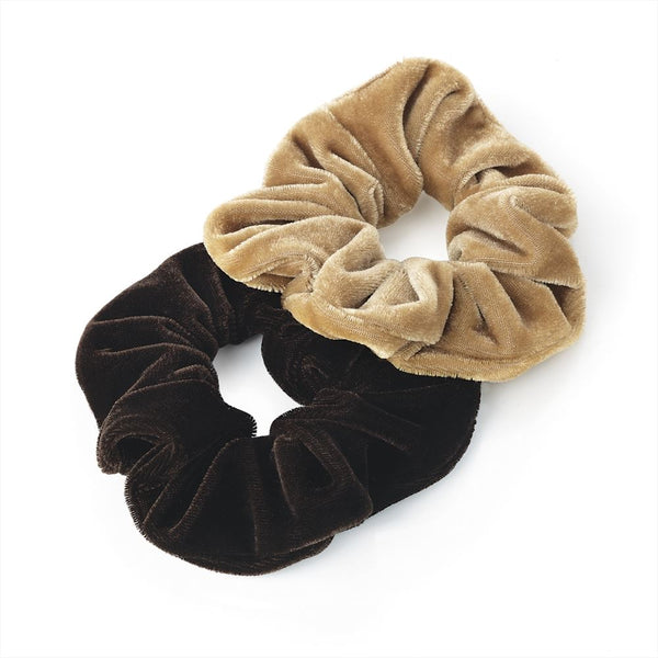 Two Piece Velvet Look Hair Scrunchies - Light & Dark Brown 3.5cm