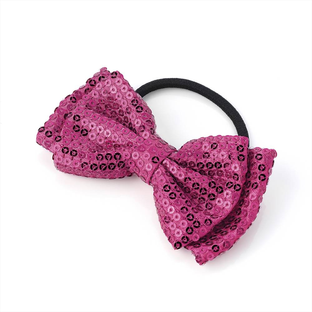 Sequin Bow On Hair Elastic - Fuschia 4cm x 7cm