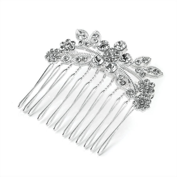 Clear Crystal Flower Comb - Silver Tones 5cm
