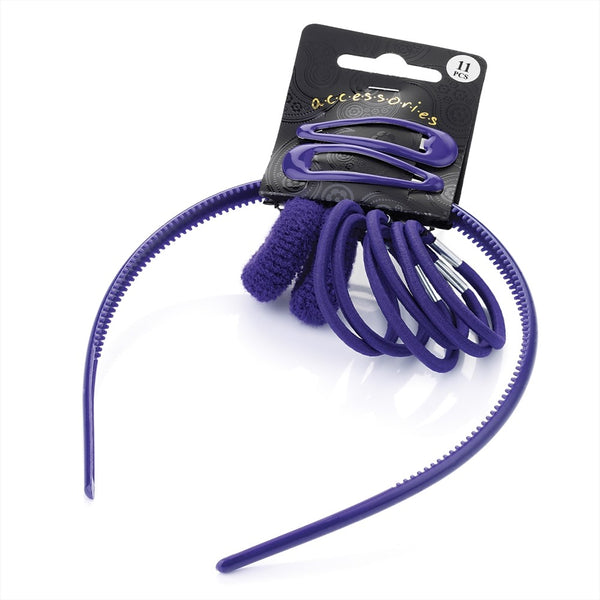 Eleven Piece Headband, Snap Clip, Ponio & Hair Elastic Set - Purple Various Sizes