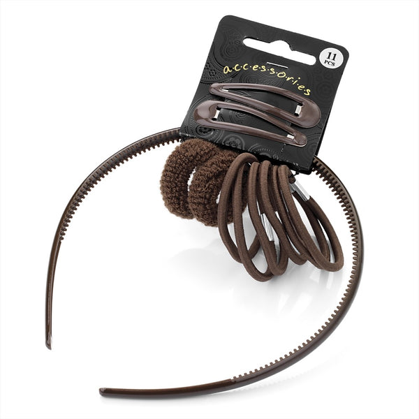 Eleven Piece Headband, Snap Clip, Ponio & Hair Elastic Set - Brown Various Sizes