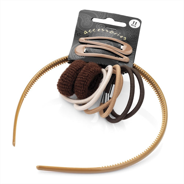 Eleven Piece Headband, Snap Clip, Ponio & Hair Elastic Set - Brown Tones Various Sizes