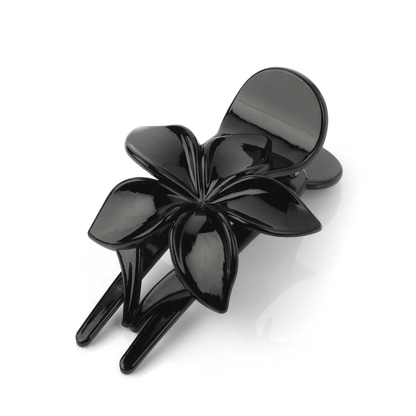 Womens Flower Design Barrette Look Hair Clip Black 10cm