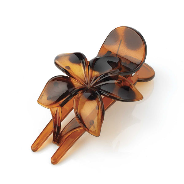Womens Flower Design Hair Clip Claw Clamp Tortoiseshell 10cm