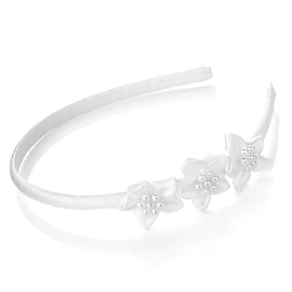 Flower & Faux Pearl Headband - White  7mm