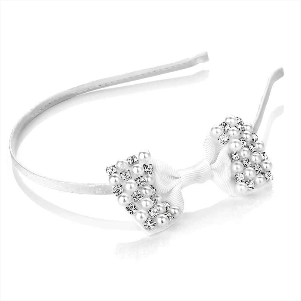 Crystal & Faux Pearl Bow Alice Band - White 8.5cm Bow