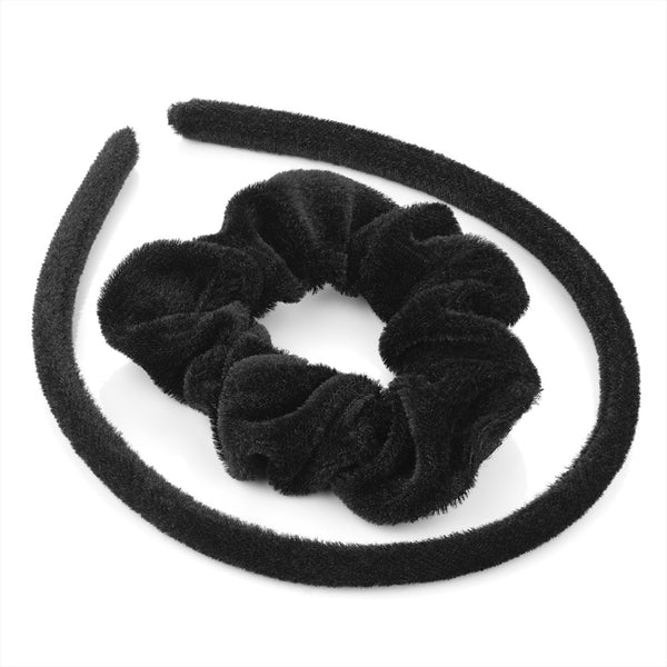 Two Piece Velvet Look Alice Band & Scrunchie Set - Black