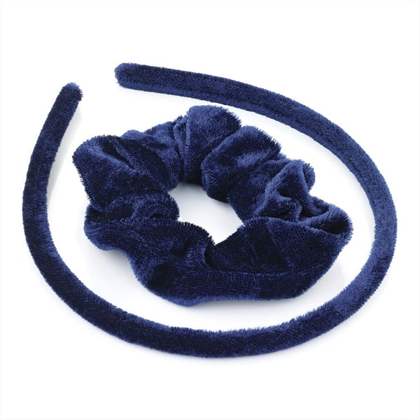 Two Piece Velvet Look Alice Band & Scrunchie Set - Navy